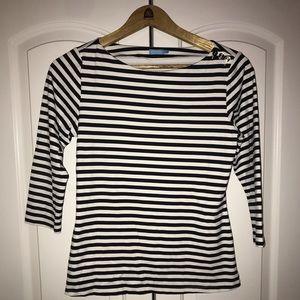 J. Mclauglin White & Black Striped Shirt